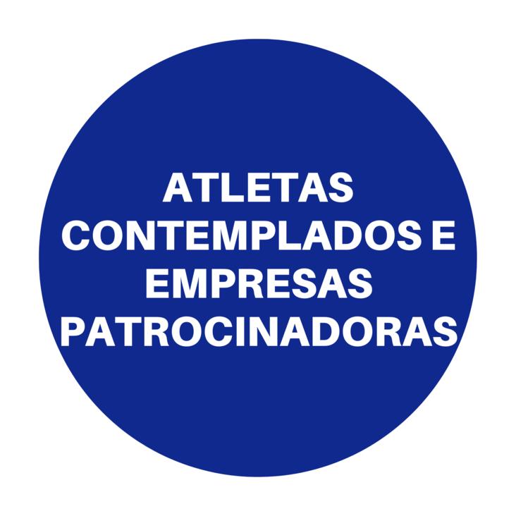 Atletas contemplados e empresas patrocinadoras